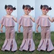 Canis Baby Kids Girl Ruffle Top Bell Casual Long Pants 2pcs Outfits Set Clothes