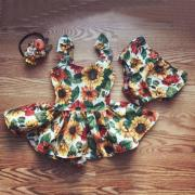 Newborn Kids Baby Girls Outfits Clothes Sunflower Top DressBottoms 2pcs Set