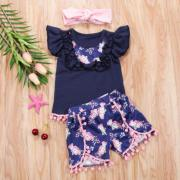 Toddler Baby Kids Girls Sleeveless Tops T-shirt Ruffled Shorts 2Pcs Outfits Set