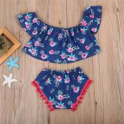 UK 2PCS Toddler Infant Baby Girls Floral Flutter Crop Shorts Pants Outfits