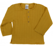 Рубашка из хлопкового муслина горчичного цвета из коллекции Essential 18-24M Tkano