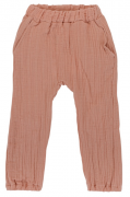 Штаны из хлопкового муслина цвета пыльной розы из коллекции Essential 12-18M Tkano
