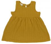 Платье без рукава из хлопкового муслина горчичного цвета из коллекции Essential 3-4Y Tkano