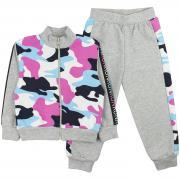 Спортивный костюм для девочек Юлла 338/849фд ком ап цв. розовый-белый р.110