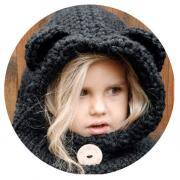 Шапка-шлем вязаная Мишка (Черный)