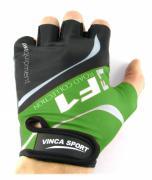 Перчатки велосипедные Vinca Sport VG 924, черные/зеленые, 8