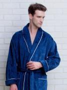 Элегантный мужской халат из плотной махровой ткани синего цвета с рисунками слоников + тапочки в подарок PECHE MONNAIE №923 Синий