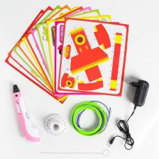 3D ручка с дисплеем, набор PLA пластика, цвет розовый – фото 1