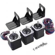 3 Pack Nema 17 Шаговый двигатель с 1М 4-контактным кабелем и разъемом и 3 комплект для монтажного кронштейна для 3D для 3D-принтера / ЧПУ