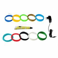 Комплект 3Д ручка NIT-PEN2 желтая + пластик PLA 10 цветов по 10 метров – фото 1