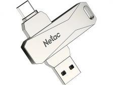 Флешка Netac U782C, 128Gb, USB 3.0/USB Type-C, Серебристый NT03U782C-128G-30PN