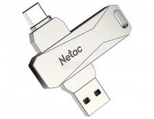 Флешка Netac U782C, 64Gb, USB 3.0/USB Type-C, Серебристый NT03U782C-064G-30PN