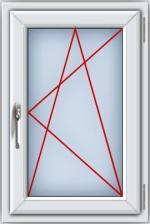 Пластиковое окно ПВХ REHAU BLITZ 900х600 мм, одностворчатое поворотно-откидное правое, однокамерный стеклопакет, белое