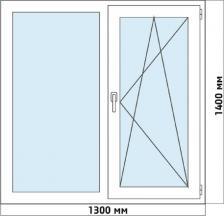 Окно ПВХ двустворчатое 1300 Х 1400мм – фото 4