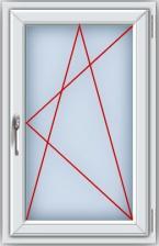 Пластиковое окно ПВХ REHAU BLITZ 1100х700 мм,одностворчатое поворотно-откидное правое, однокамерный стеклопакет , белое