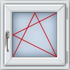 Пластиковое окно ПВХ REHAU BLITZ 600х600 мм, одностворчатое поворотно-откидное правое, двухкамерный стеклопакет, белое