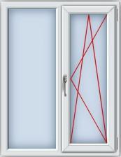 Пластиковое окно ПВХ REHAU BLITZ 1300х1000 мм, двухстворчатое, глухое левое поворотно-откидное правое, однокамерный стеклопакет, белое