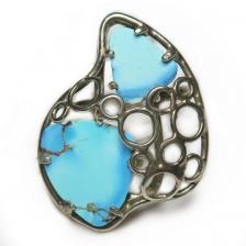 Кольцо с казахстанской бирюзой 206-bir