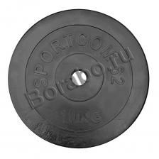 Диск Sportcom обрезиненный, черный, диаметр 26 мм, 10 кг
