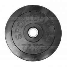 Диск Sportcom обрезиненный, черный, диаметр 26 мм, 7,5 кг