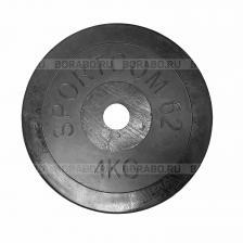 Диск Sportcom обрезиненный, черный, диаметр 26 мм, 4 кг