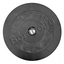 Диск Sportcom обрезиненный, черный, диаметр 26 мм, 15 кг