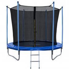 Батут JUNHOP 8 Комплект с защитной сетью и лестницей синий