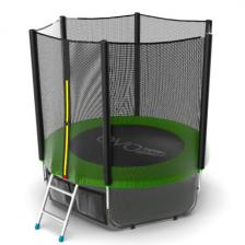 Батут с внешней сеткой и лестницей EVO JUMP External 6ft (Green) + нижняя сеть