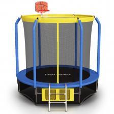 Батут Perfexo, 14FT, 427 см с сеткой, лестницей, баскетбольным кольцом и сумкой для обуви Синий-желтый