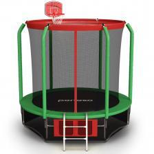 Батут perfexo, 12FT, 366 см с сеткой, лестницей, баскетбольным кольцом и сумкой для обуви Красный-зеленый