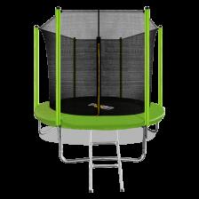 Батут с внутренней страховочной сеткой и лестницей ARLAND 8FT (Light green)