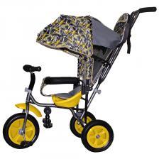 Трехколесный велосипед Galaxy Лучик Малют 1 Принт Абстр чёрный/жёлтый