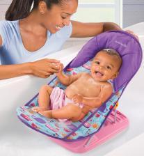 Summer Infant Лежак с подголовником для купания Deluxe Baby Bather, киты/розовый – фото 2
