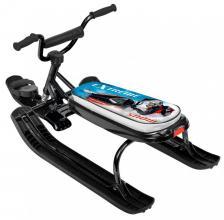 Снегокат Nika Джамп, велоруль, трос с автонамоткой, черный каркас, принт Гонки
