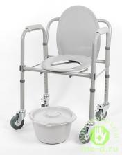 Кресло-туалет складной на колесах 10581Ca – фото 2