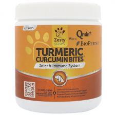Zesty Paws Куркума ломтики с куркумином для собак поддержка суставов и иммунитета со вкусом утки 90 мягких жевательных конфет Ztp-00710