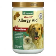 NaturVet Aller-911 Allergy Aid Plus Antioxidants 180 Soft Chews 13.9 oz (396 g) Vet-03733