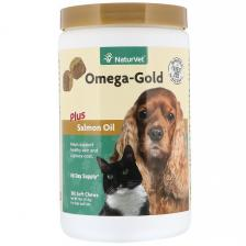 NaturVet Omega-Gold с жиром лосося добавка для собак и котов улучшение состояния кожи и шерсти 180 мягких жевательных таблеток Vet-03818